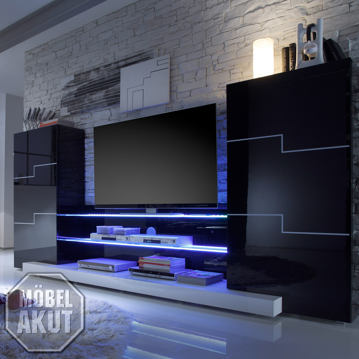 wohnwand zetron anbauwand in schwarz wei hochglanz lack ebay. Black Bedroom Furniture Sets. Home Design Ideas