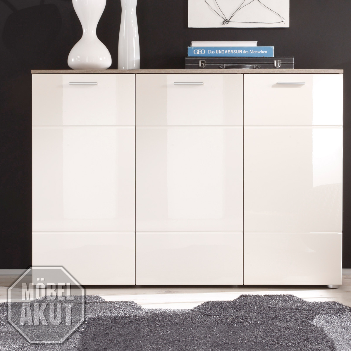 kommode 3 shadow sideboard in eiche tr ffel magnolie creme hochglanz tiefzieh ebay. Black Bedroom Furniture Sets. Home Design Ideas