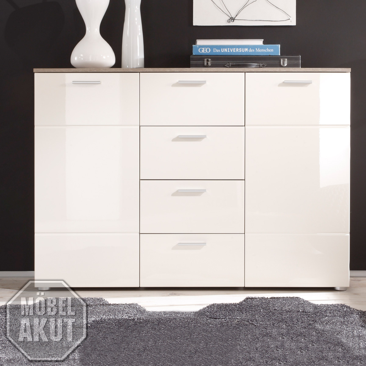 kommode 4 shadow sideboard eiche tr ffel magnolie creme hochglanz tiefzieh ebay. Black Bedroom Furniture Sets. Home Design Ideas
