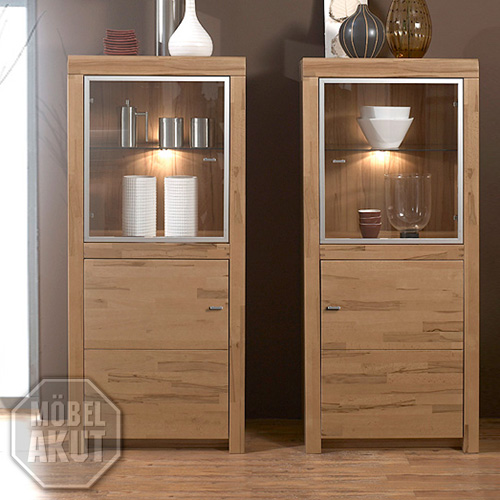 2er set vitrine moments sopo kern buche massiv vorr tig ebay. Black Bedroom Furniture Sets. Home Design Ideas