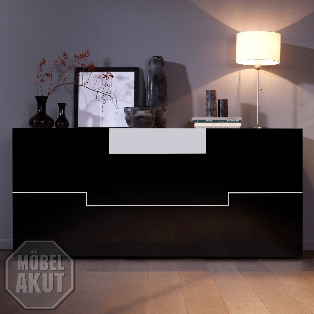 sideboard twin kommode in schwarz wei hochglanz lack ebay. Black Bedroom Furniture Sets. Home Design Ideas