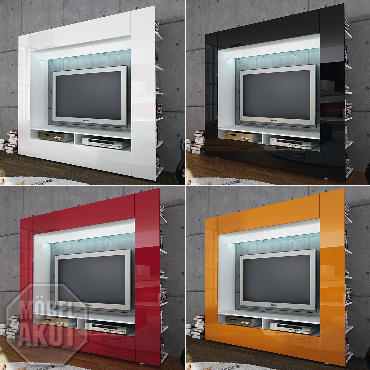 tv medienwand olli wohnwand wei schwarz rot orange hochglanz ebay. Black Bedroom Furniture Sets. Home Design Ideas