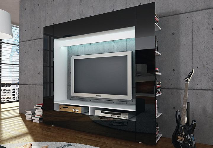 wohnwand tv medienwand anbauwand olli in wei front in. Black Bedroom Furniture Sets. Home Design Ideas