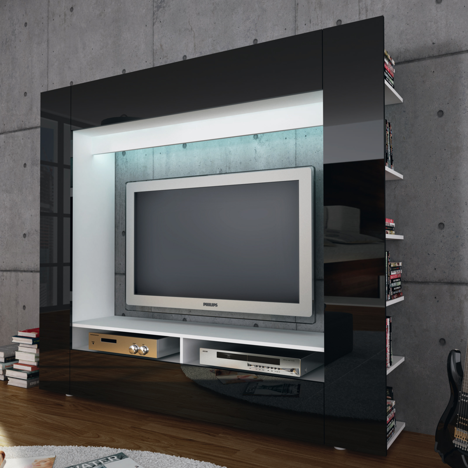 wohnwand tv medienwand anbauwand olli in wei front in hochglanz wahlweise led ebay. Black Bedroom Furniture Sets. Home Design Ideas