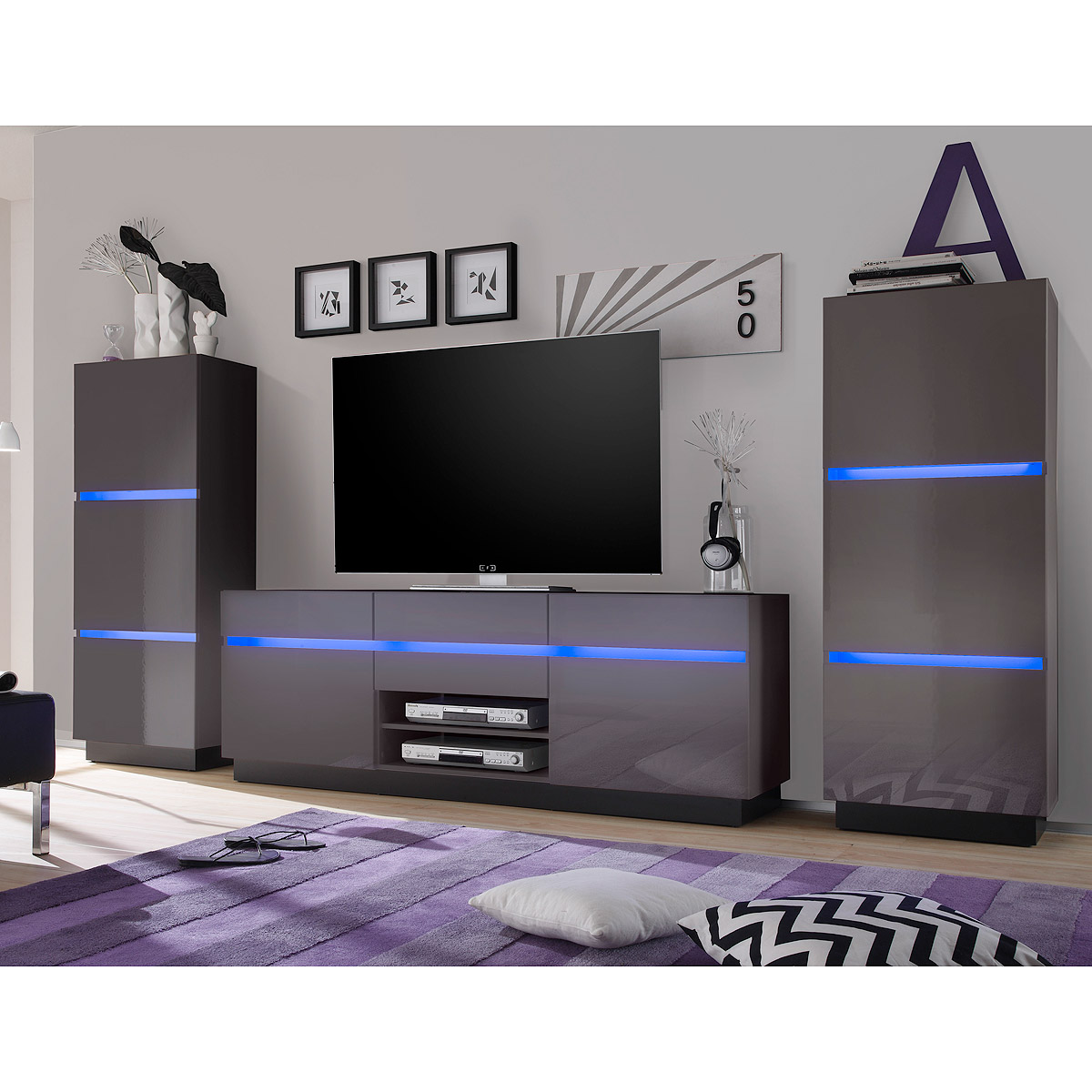 wohnwand 2 scaleo anbauwand wohnzimmer anthrazit hochglanz schwarz mit led ebay. Black Bedroom Furniture Sets. Home Design Ideas