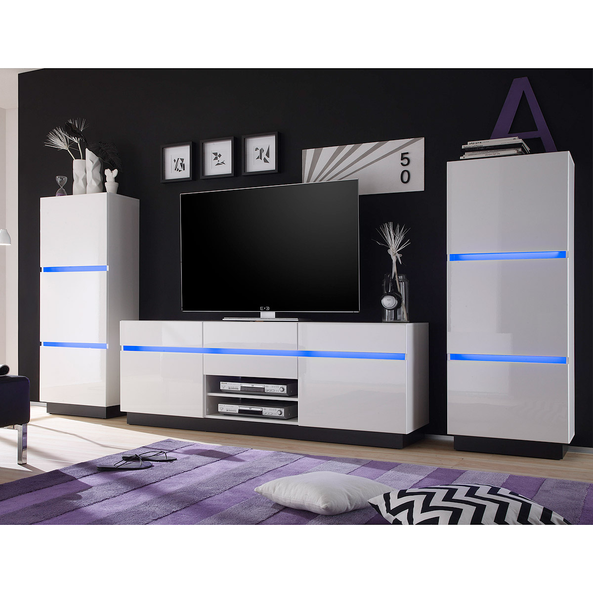 wohnwand 2 scaleo anbauwand wohnzimmer wei hochglanz mit. Black Bedroom Furniture Sets. Home Design Ideas
