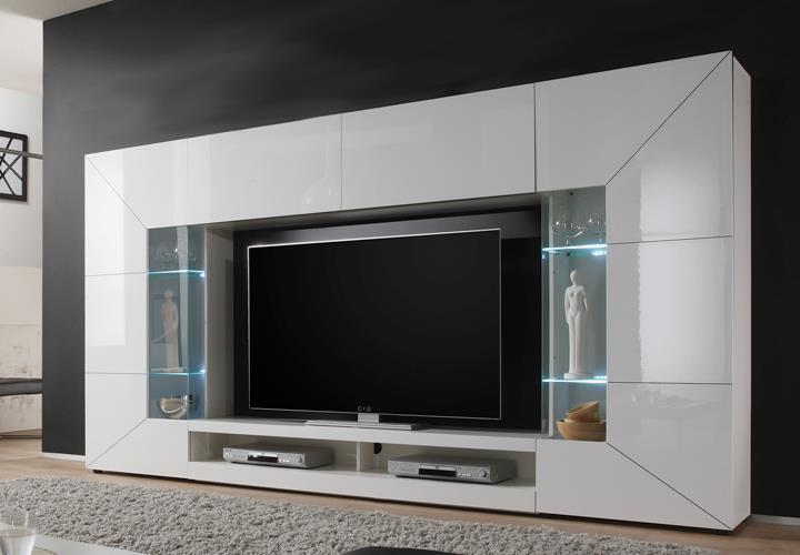Wohnwand mediawand 2e wei hochglanz lowboard vitrinen for Wohnwand betonoptik