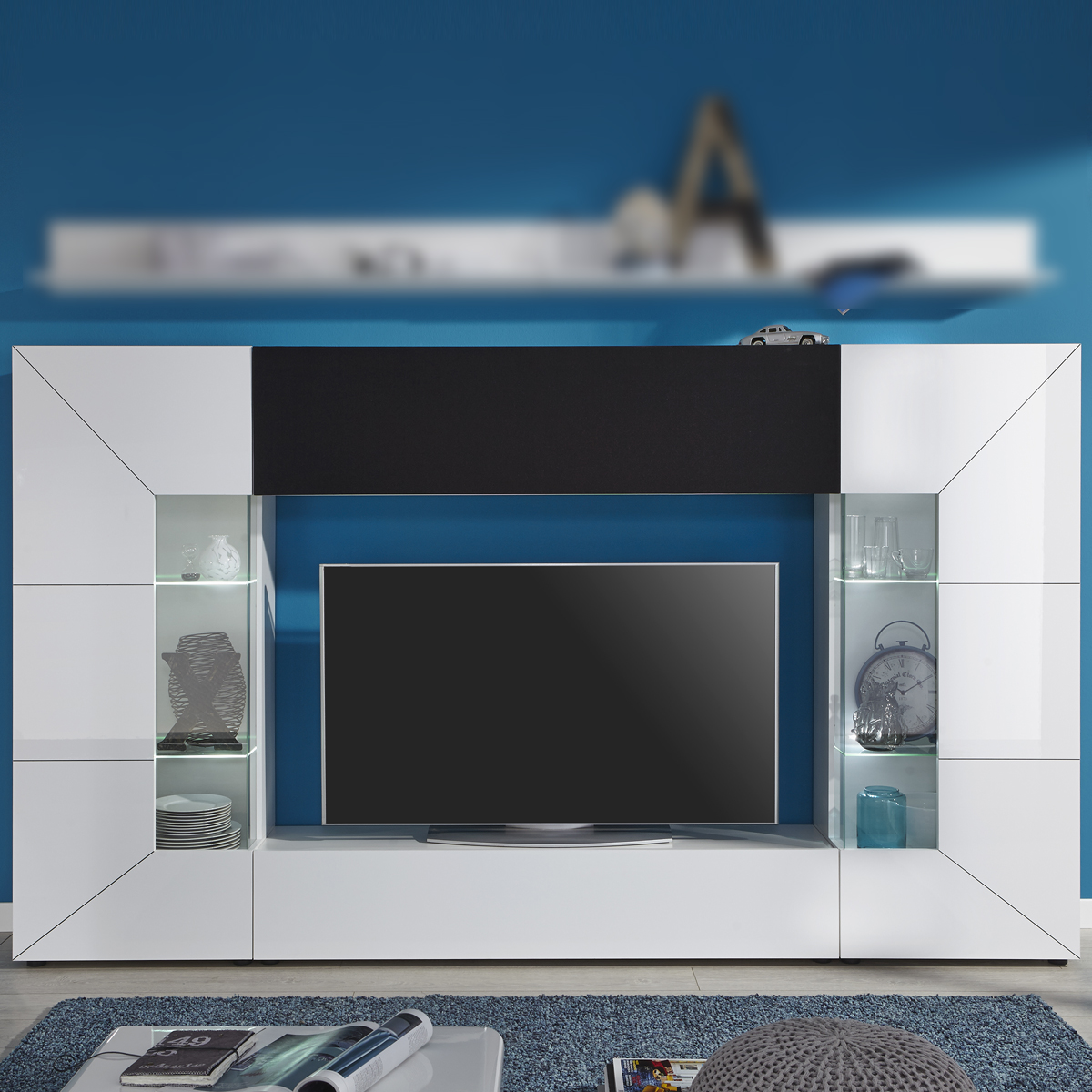 wohnwand tv medienwand anbauwand scaleo z4 wei hochglanz inkl led akustiksoff ebay. Black Bedroom Furniture Sets. Home Design Ideas