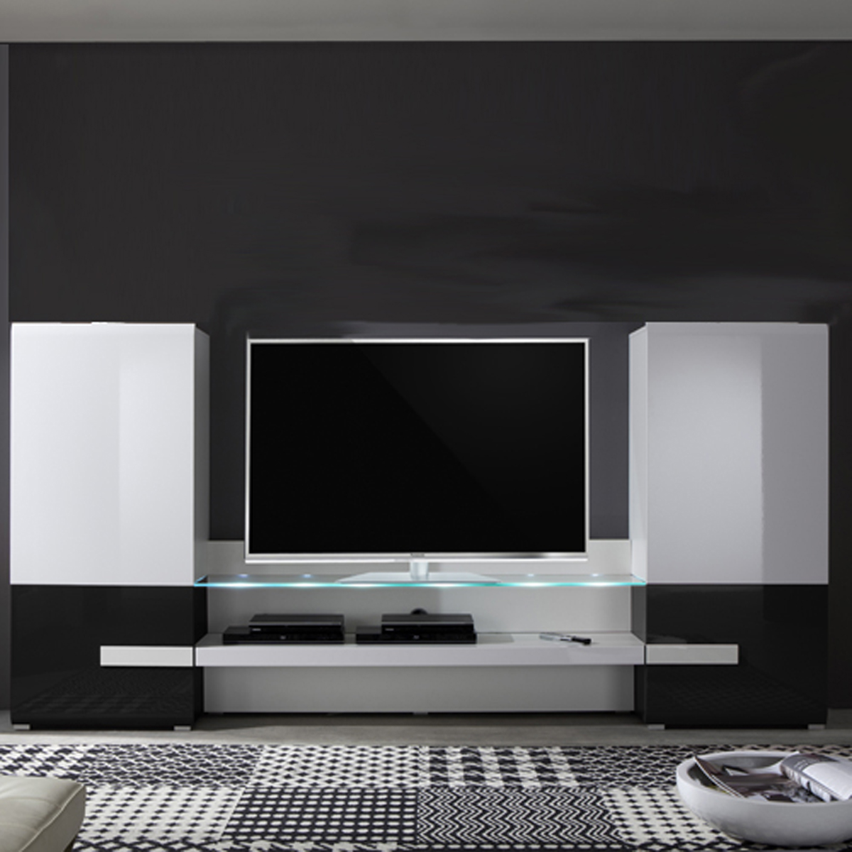 wohnwand tv medienwand anbauwand easyfurn x1 wei schwarz hochglanz 289x146 cm ebay. Black Bedroom Furniture Sets. Home Design Ideas