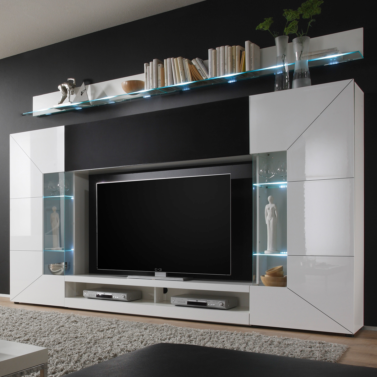 details zu media wand wohnwand tv wand wei hochglanz neu. Black Bedroom Furniture Sets. Home Design Ideas