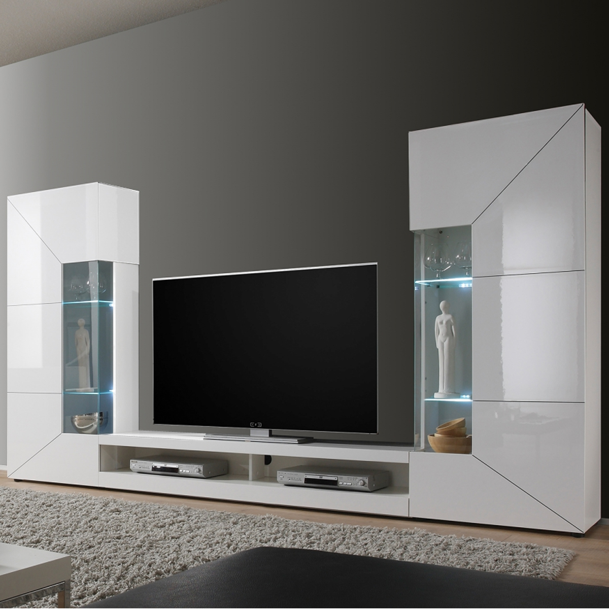 wohnwand mediawand 2e anbauwand wei hochglanz mit tv. Black Bedroom Furniture Sets. Home Design Ideas