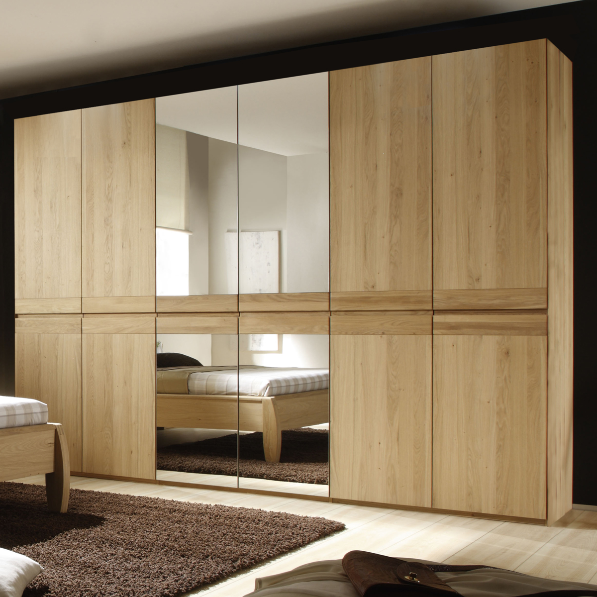 kleiderschrank yuma 6 t rig schrank schlafzimmer in eiche bianco massiv. Black Bedroom Furniture Sets. Home Design Ideas