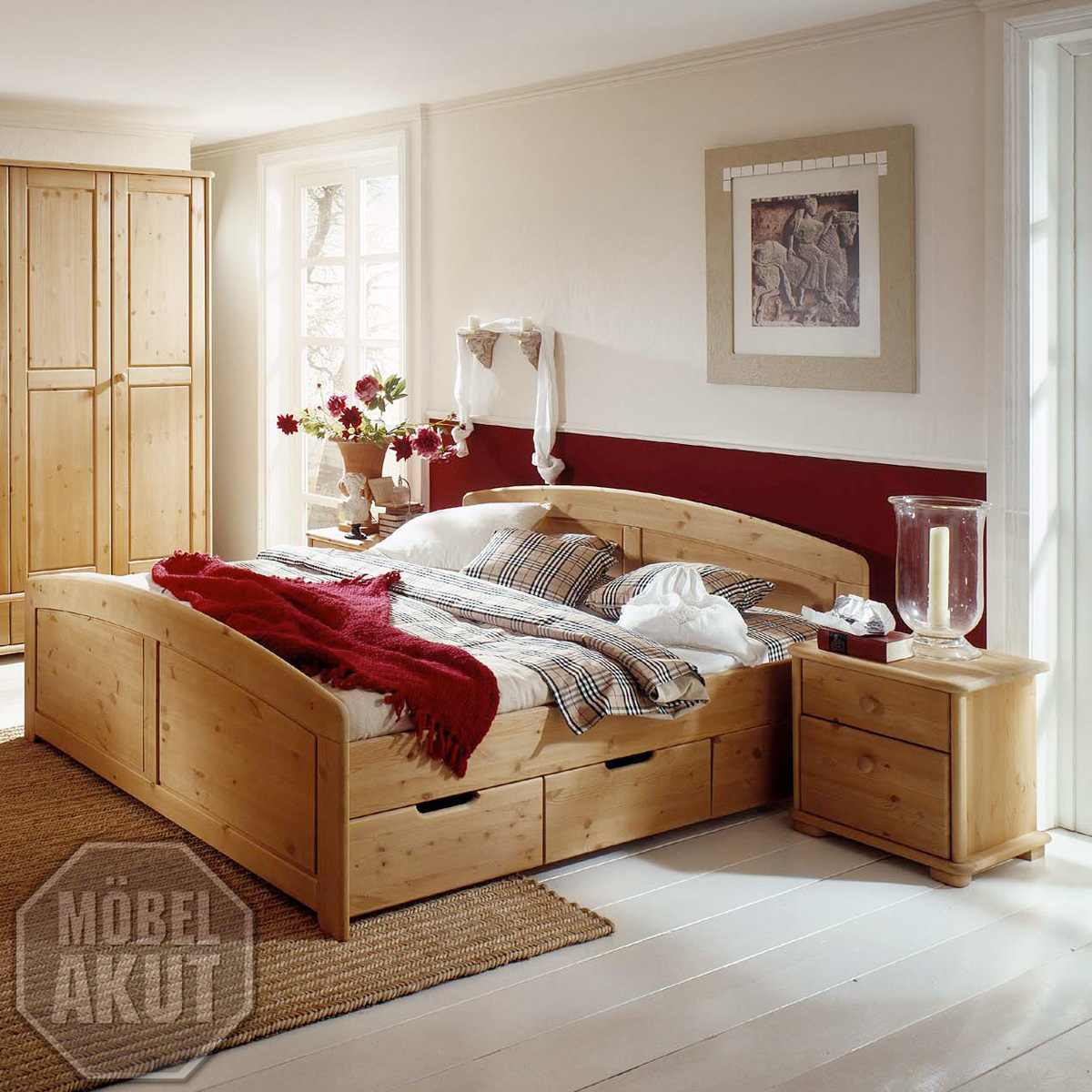 bett alborg doppelbett in kiefer massiv wei 200x200. Black Bedroom Furniture Sets. Home Design Ideas