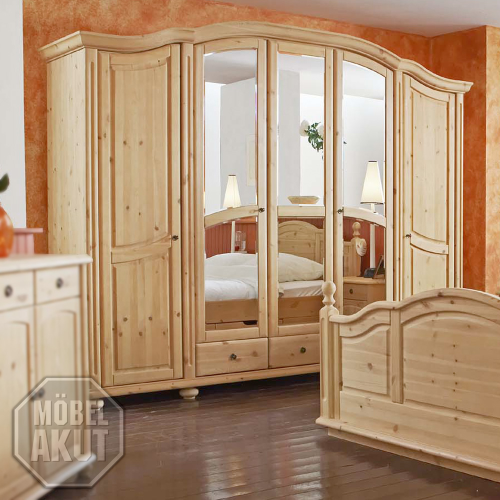 kleiderschrank arosa schrank in kiefer massiv gewachst mit spiegel 289 cm ebay. Black Bedroom Furniture Sets. Home Design Ideas