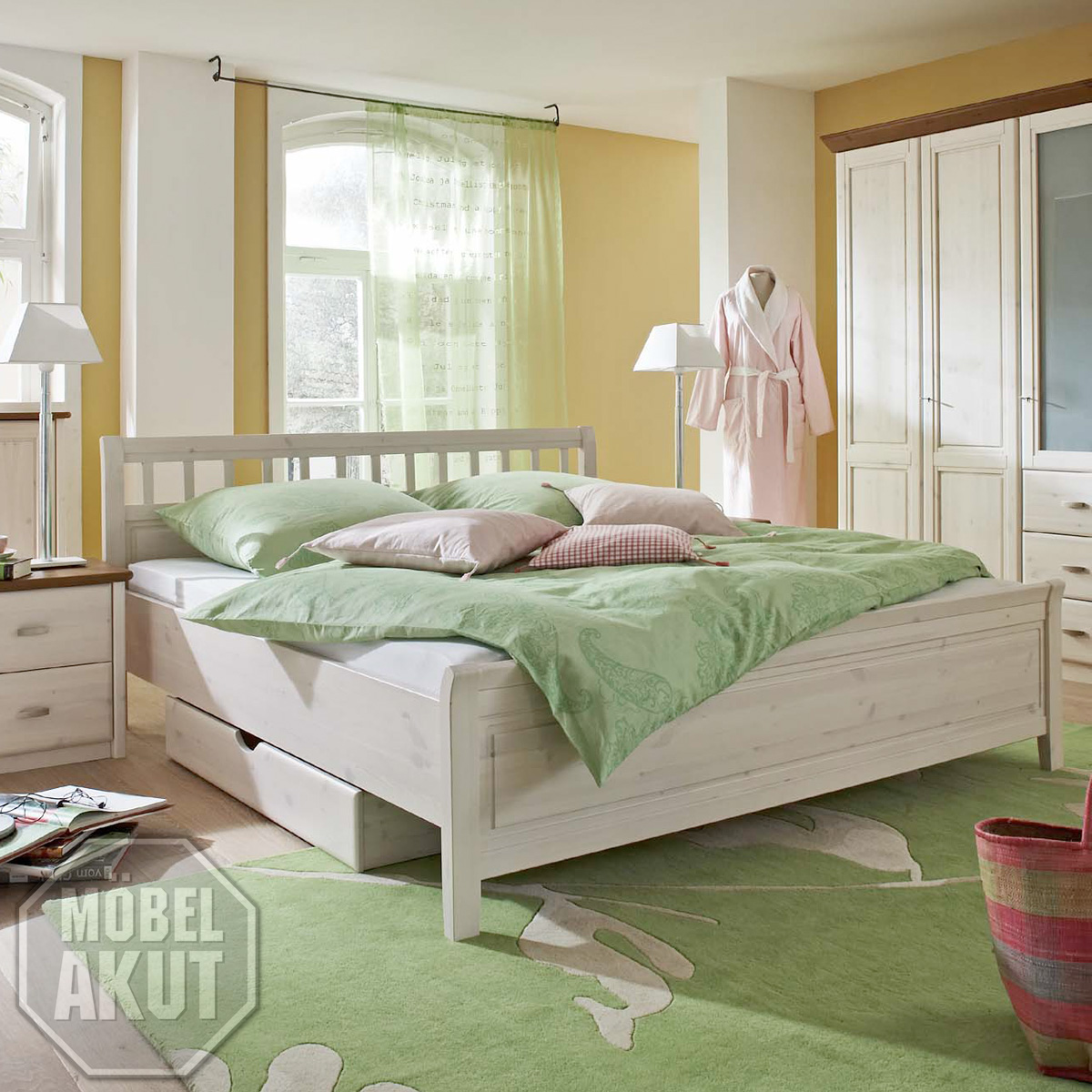 bett soeren sprossenbett doppelbett in kiefer massiv wei 180x200 ebay. Black Bedroom Furniture Sets. Home Design Ideas
