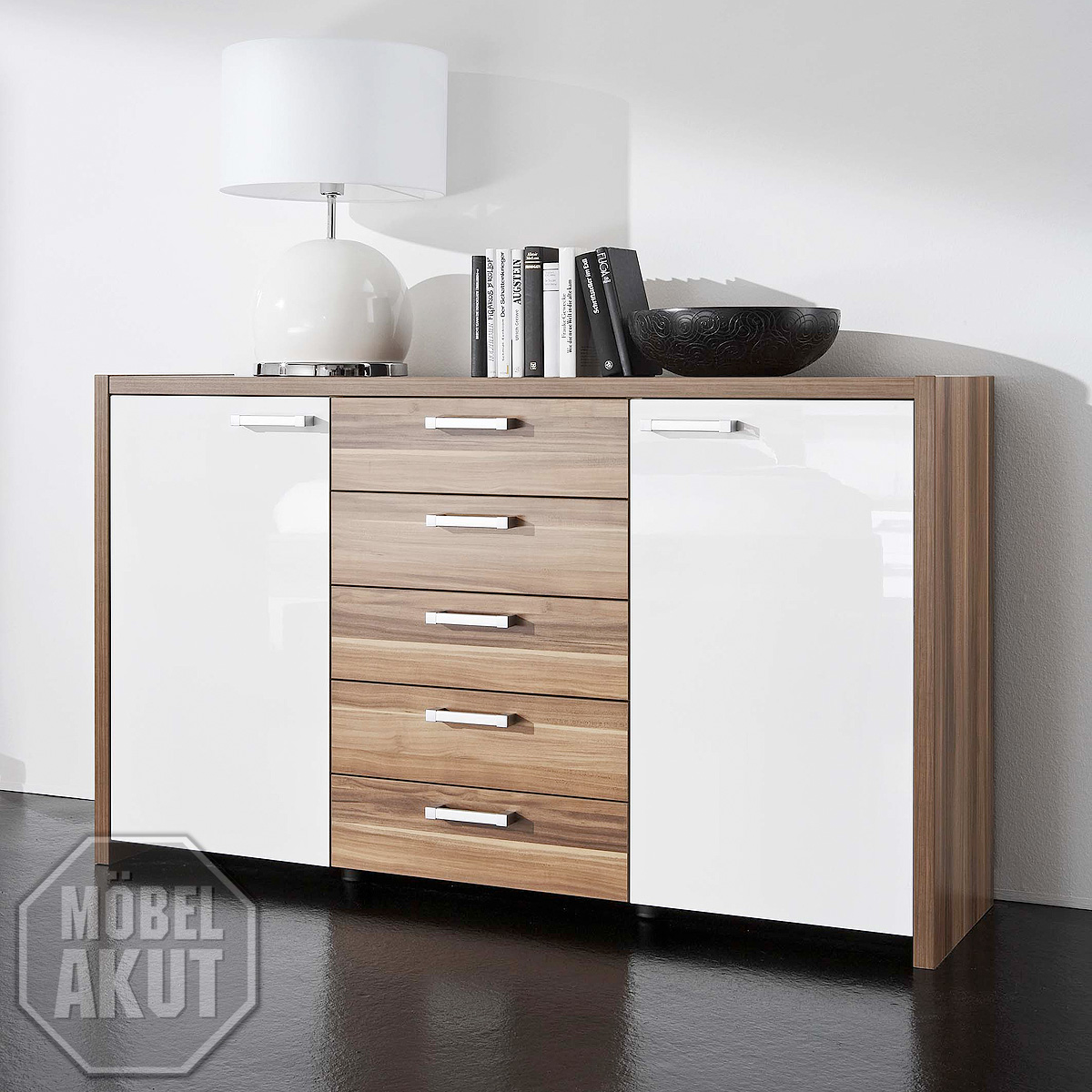 sideboard solo kommode anrichte in wei hochglanz nussbaum ebay. Black Bedroom Furniture Sets. Home Design Ideas