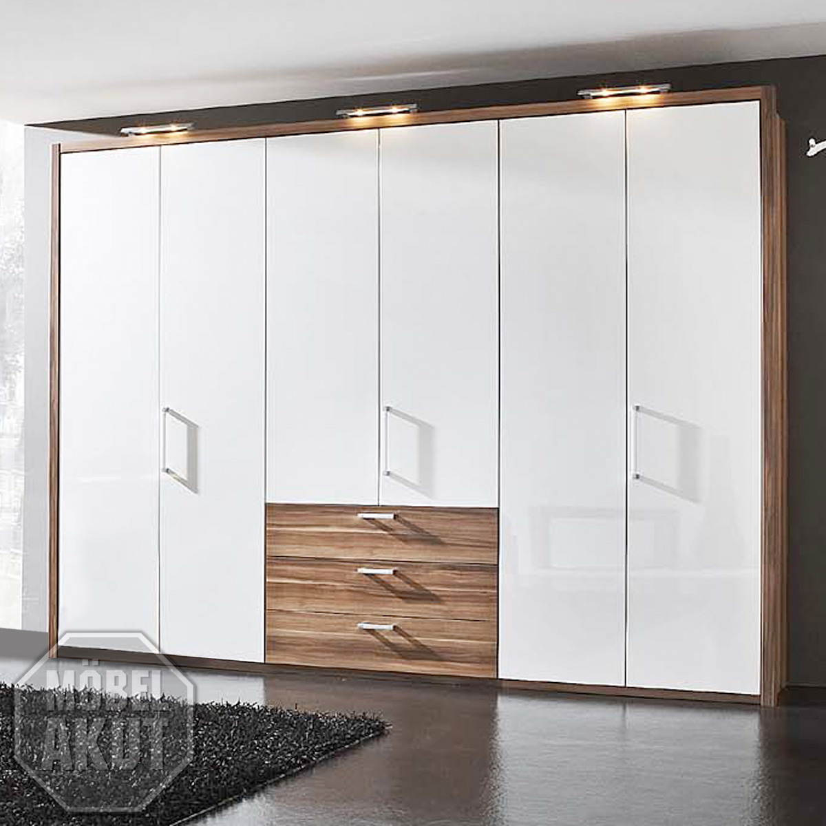 kleiderschrank solo schlafzimmerschrank schrank wei hochglanz nussbaum 310 cm ebay. Black Bedroom Furniture Sets. Home Design Ideas