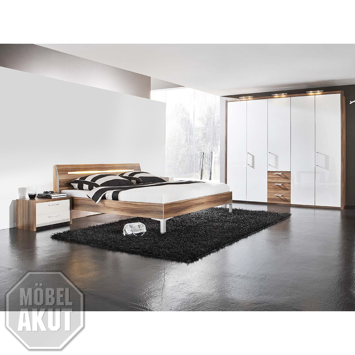 4 tlg schlafzimmer set solo bett schrank kommode wei. Black Bedroom Furniture Sets. Home Design Ideas