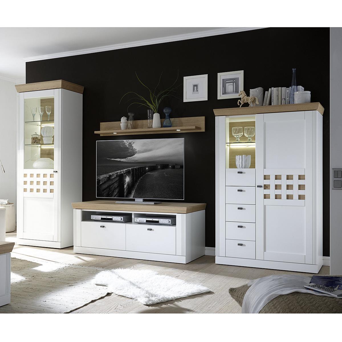 wohnwand boleros anbauwand wohnkombi wohnzimmer wei lack. Black Bedroom Furniture Sets. Home Design Ideas