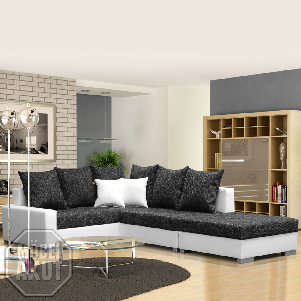 eck sofa sonya inkl hocker in wei grau neu ebay. Black Bedroom Furniture Sets. Home Design Ideas
