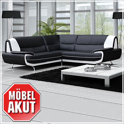 ecksofa opero sofa in schwarz wei mit metallf e neu. Black Bedroom Furniture Sets. Home Design Ideas