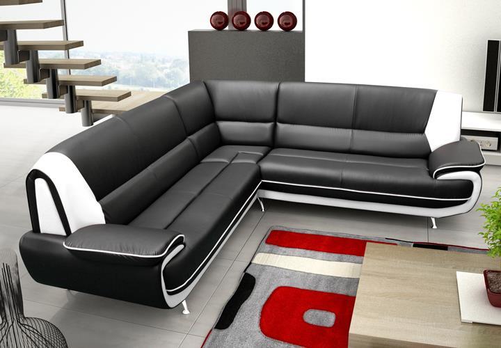 ecksofa palermo max wohnzimmer designer sofa ecke schwarz wei mit metallf en ebay. Black Bedroom Furniture Sets. Home Design Ideas