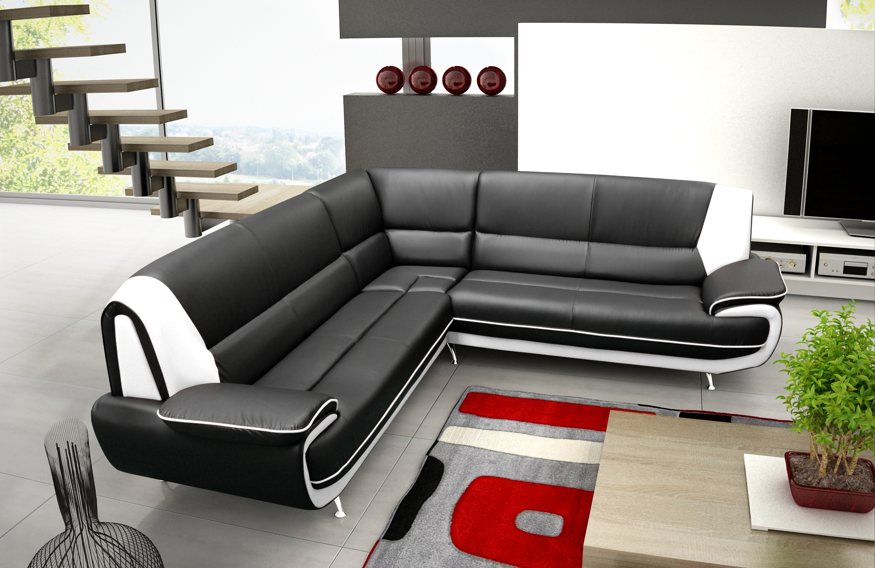 ecksofa palermo max wohnzimmer designer sofa ecke schwarz wei mit metallf en ebay. Black Bedroom Furniture Sets. Home Design Ideas
