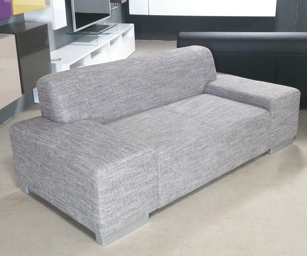 sofa peter 2 sitzer wohnzimmer couch in webstoff salz pfeffer f e in aluoptik ebay. Black Bedroom Furniture Sets. Home Design Ideas