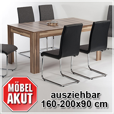 esstisch marvin esszimmer tisch ausziehbar in baltimore walnuss 160 200x90 cm ebay. Black Bedroom Furniture Sets. Home Design Ideas