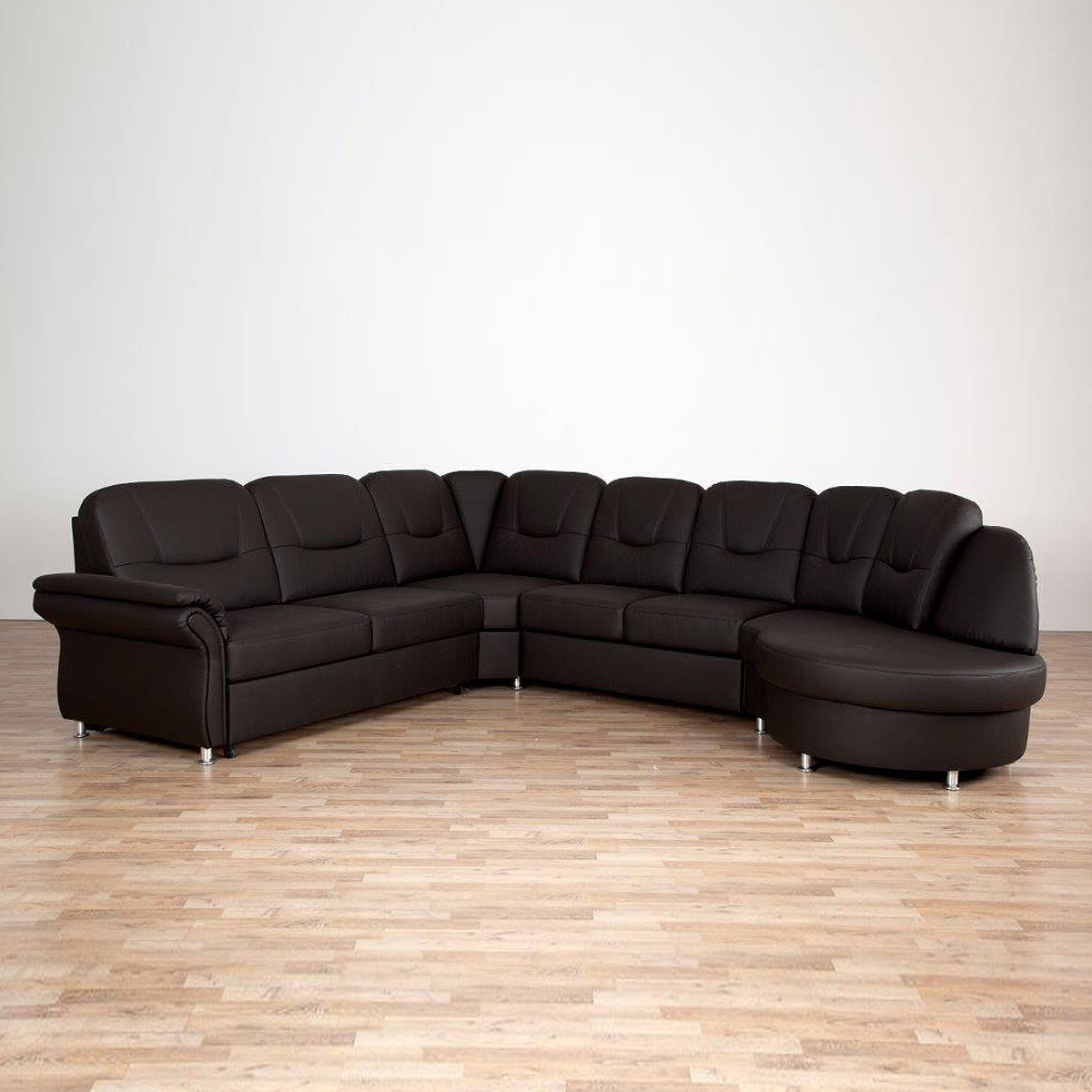 wohnlandschaft olaf sofa ecksofa in braun mit bettfunktion und bettkasten ebay. Black Bedroom Furniture Sets. Home Design Ideas
