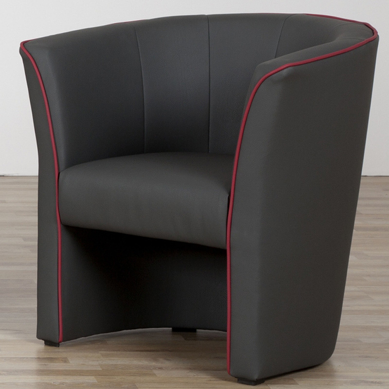 sessel ari cocktailsessel einzelsessel in schwarz mit keder in rot 72 76 64 cm ebay. Black Bedroom Furniture Sets. Home Design Ideas