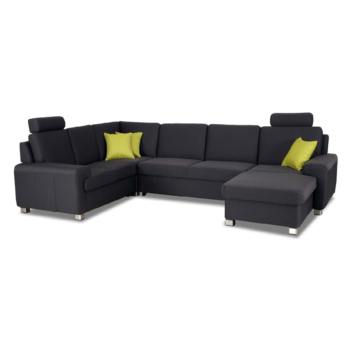wohnlandschaft plaza sofa ecksofa anthrazit mit. Black Bedroom Furniture Sets. Home Design Ideas