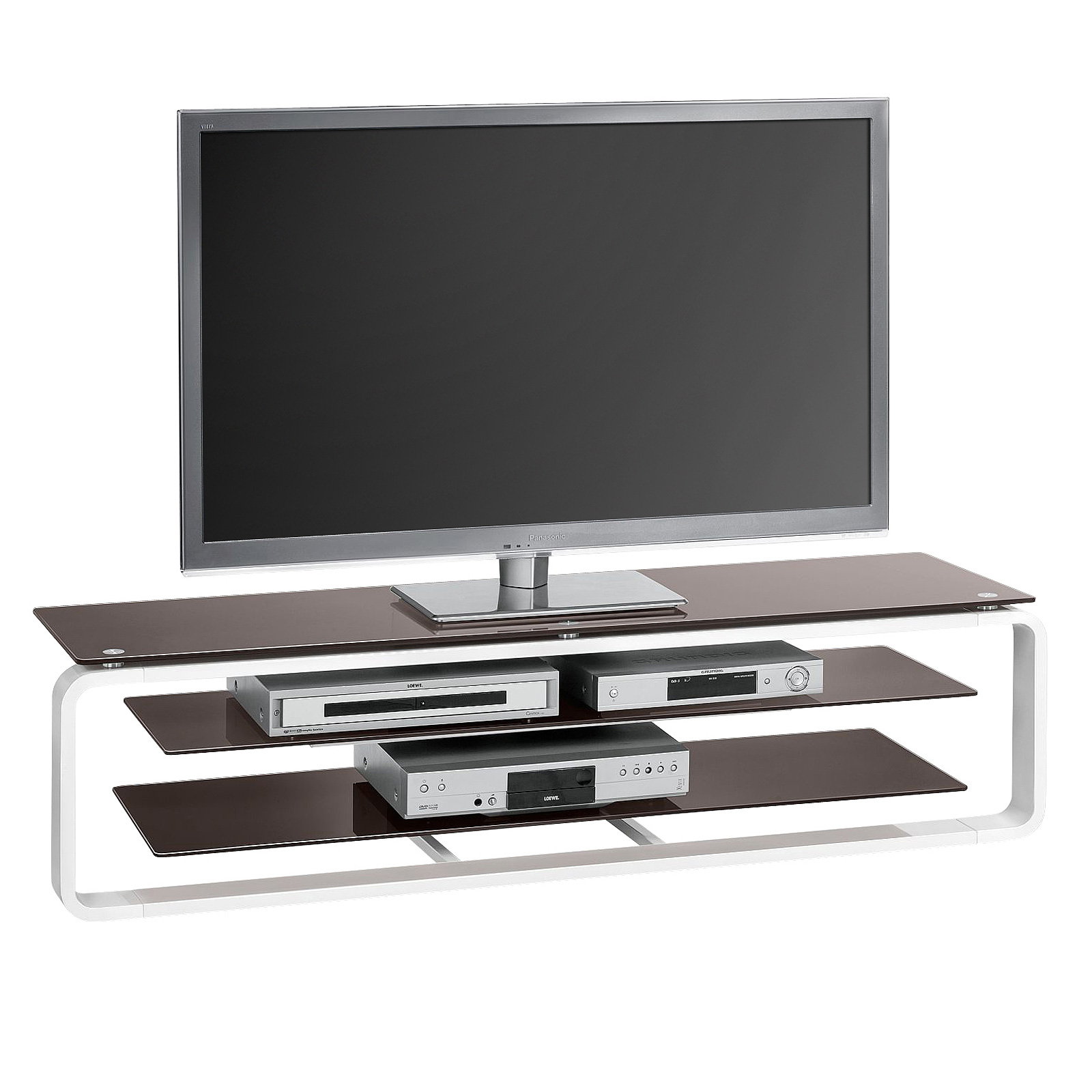 tv board maja 1262 tv rack media hifi lowboard hochglanz und glas farbauswahl ebay. Black Bedroom Furniture Sets. Home Design Ideas