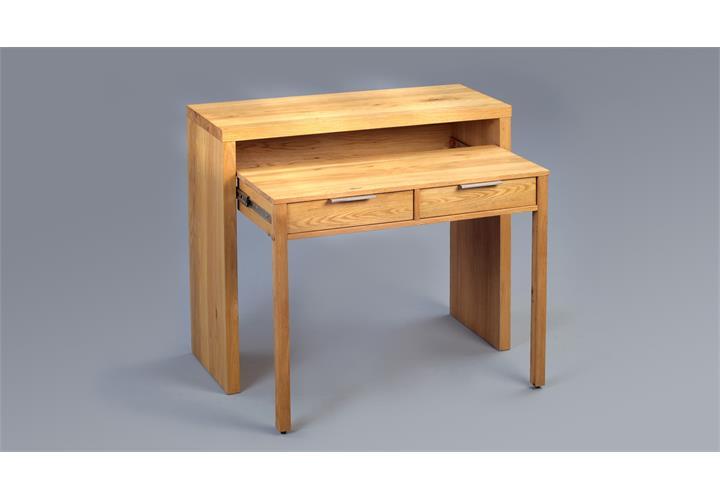 Schreibtisch aria sven sekret r konsole ausziehbar wei for Schreibtisch wildeiche