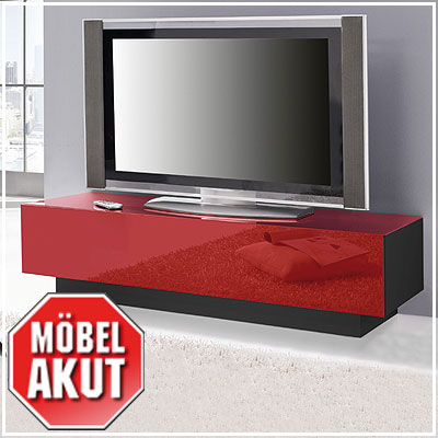 lowboard collos tv board in glas rot schwarz. Black Bedroom Furniture Sets. Home Design Ideas