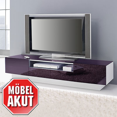 lowboard collos tv board in glas lila wei kommode neu ebay. Black Bedroom Furniture Sets. Home Design Ideas