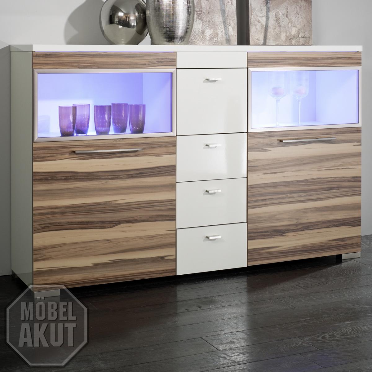 highboard trust kommode in wei hochglanz baltimore nussbaum sideboard ebay. Black Bedroom Furniture Sets. Home Design Ideas