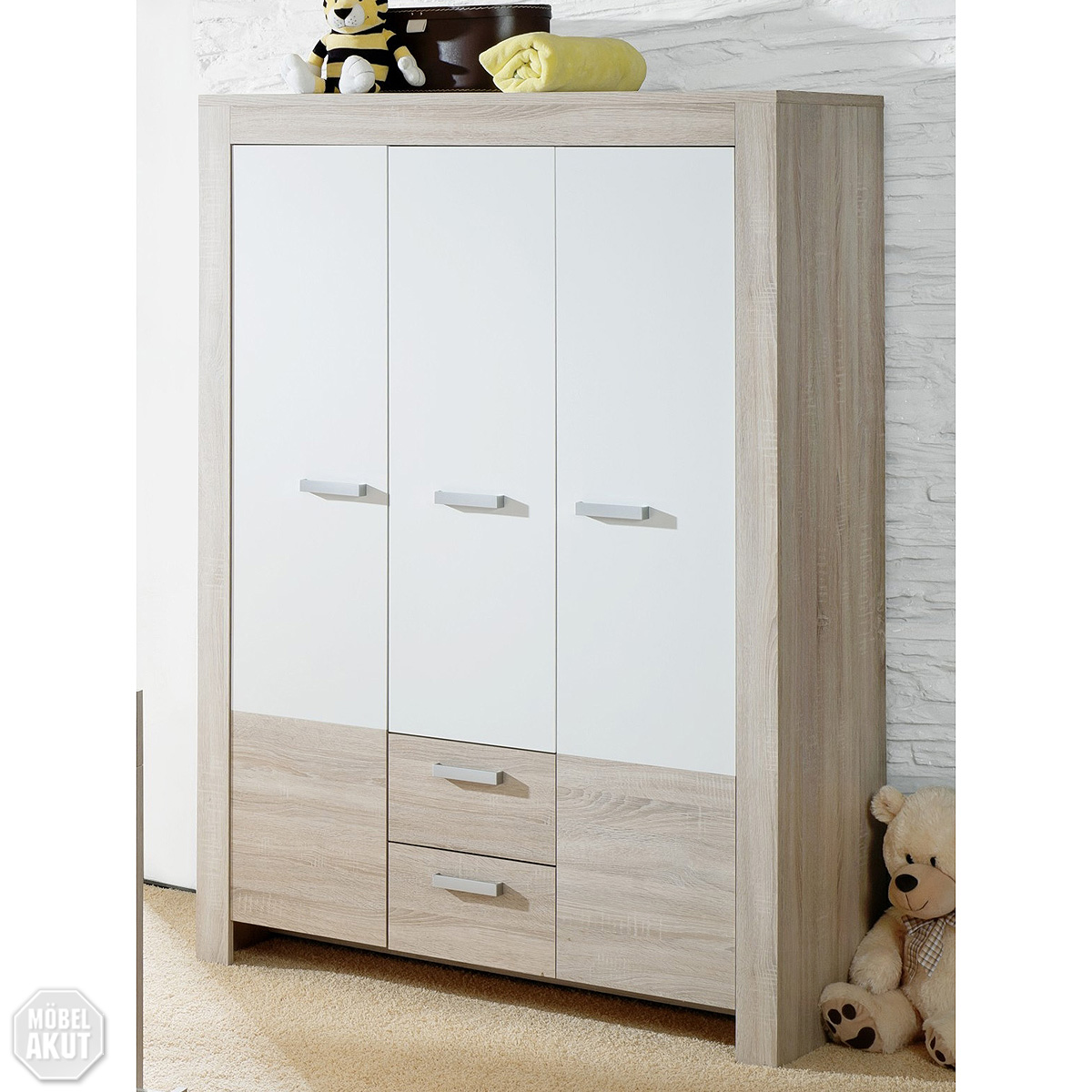 kleiderschrank ben babyzimmer sonoma eiche s gerau wei ebay. Black Bedroom Furniture Sets. Home Design Ideas