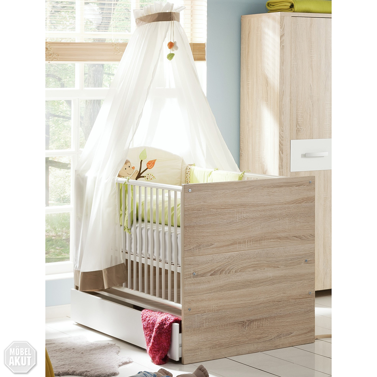 babybett bolek kinderbett juniorbett sonoma eiche s gerau wei ebay. Black Bedroom Furniture Sets. Home Design Ideas