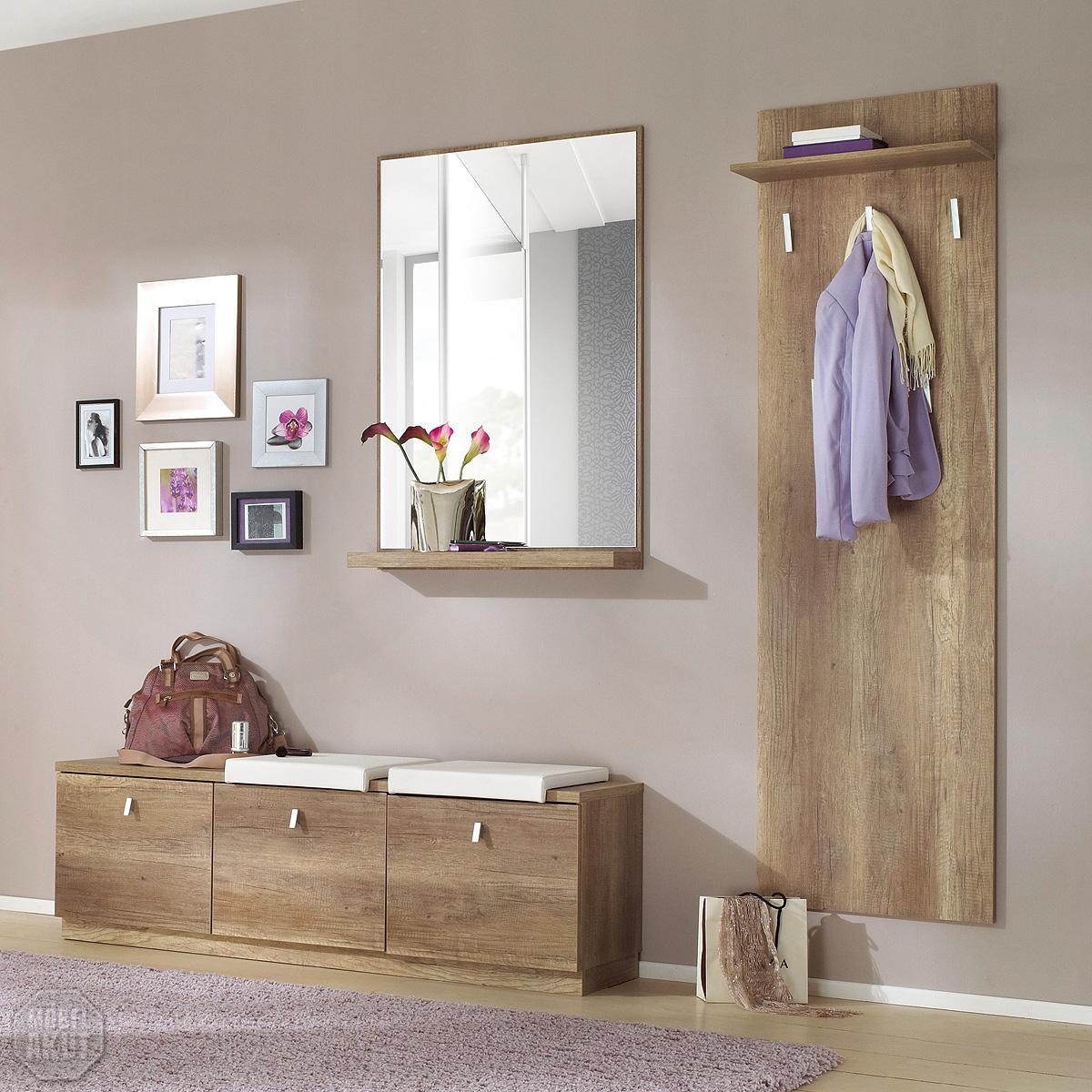 garderoben set 2 grace schuhschrank spiegel paneel wildeiche tr ffel ebay. Black Bedroom Furniture Sets. Home Design Ideas