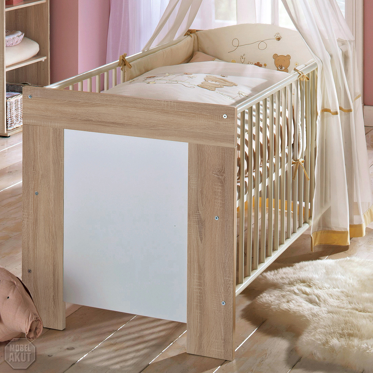babybett michi kinderbett juniorbett sonoma eiche s gerau wei ebay. Black Bedroom Furniture Sets. Home Design Ideas