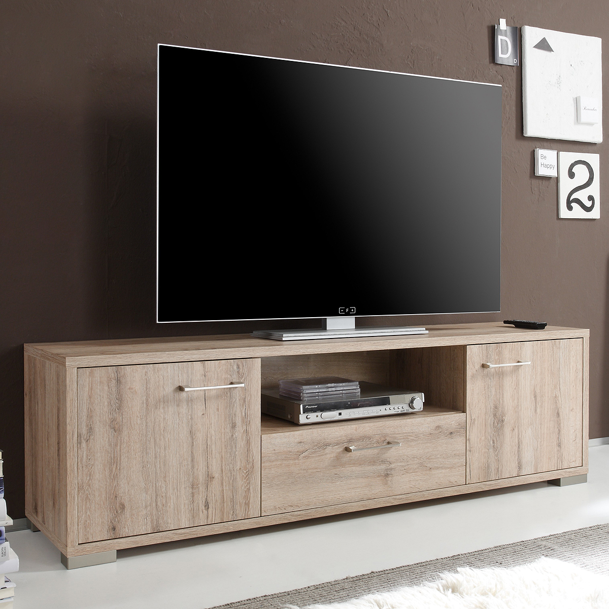 lowboard medi 3 in san remo eiche hell tv board wohnzimmer media m bel ebay. Black Bedroom Furniture Sets. Home Design Ideas