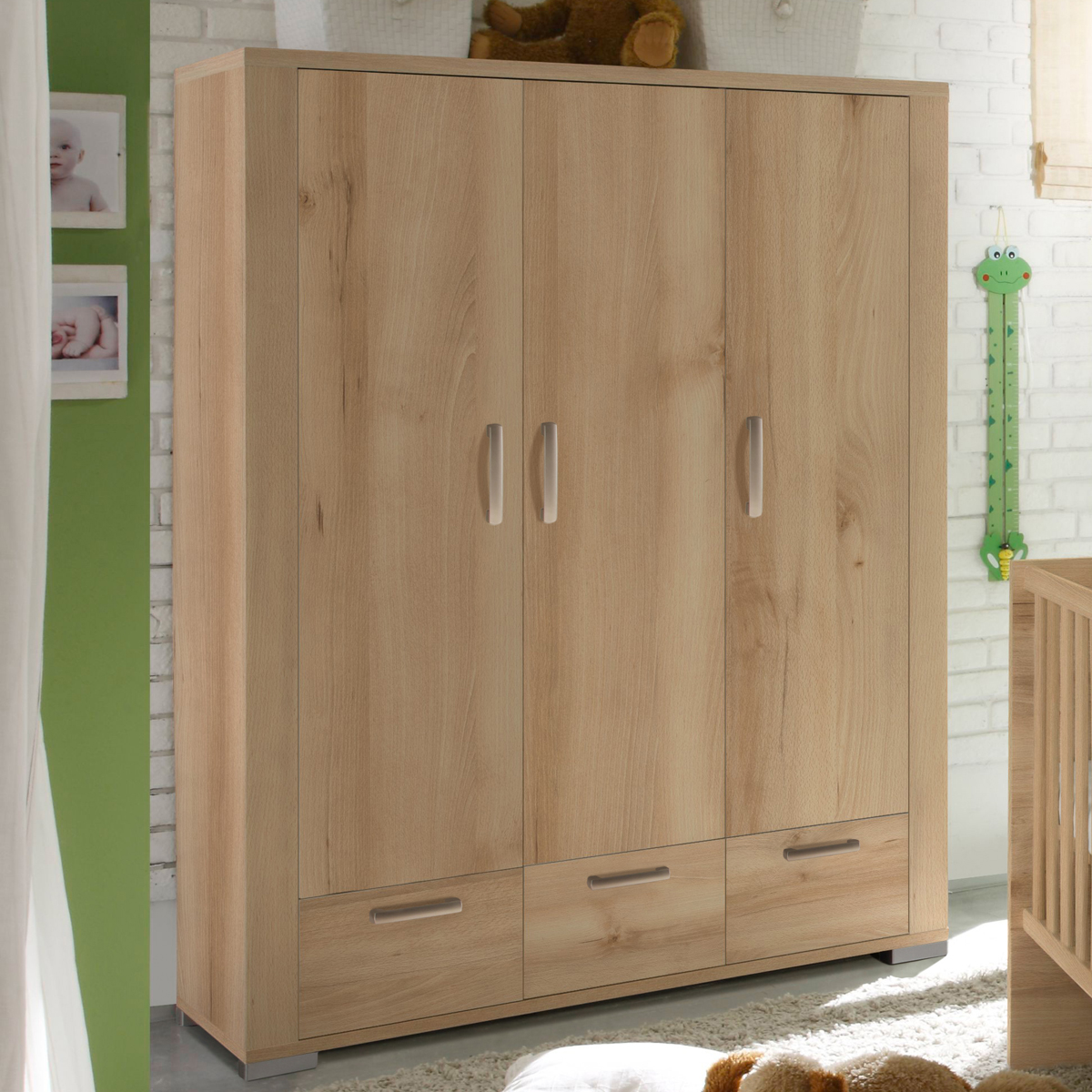 kleiderschrank ziggo babyzimmer schrank in edelbuche dekor 3 t rig ebay. Black Bedroom Furniture Sets. Home Design Ideas