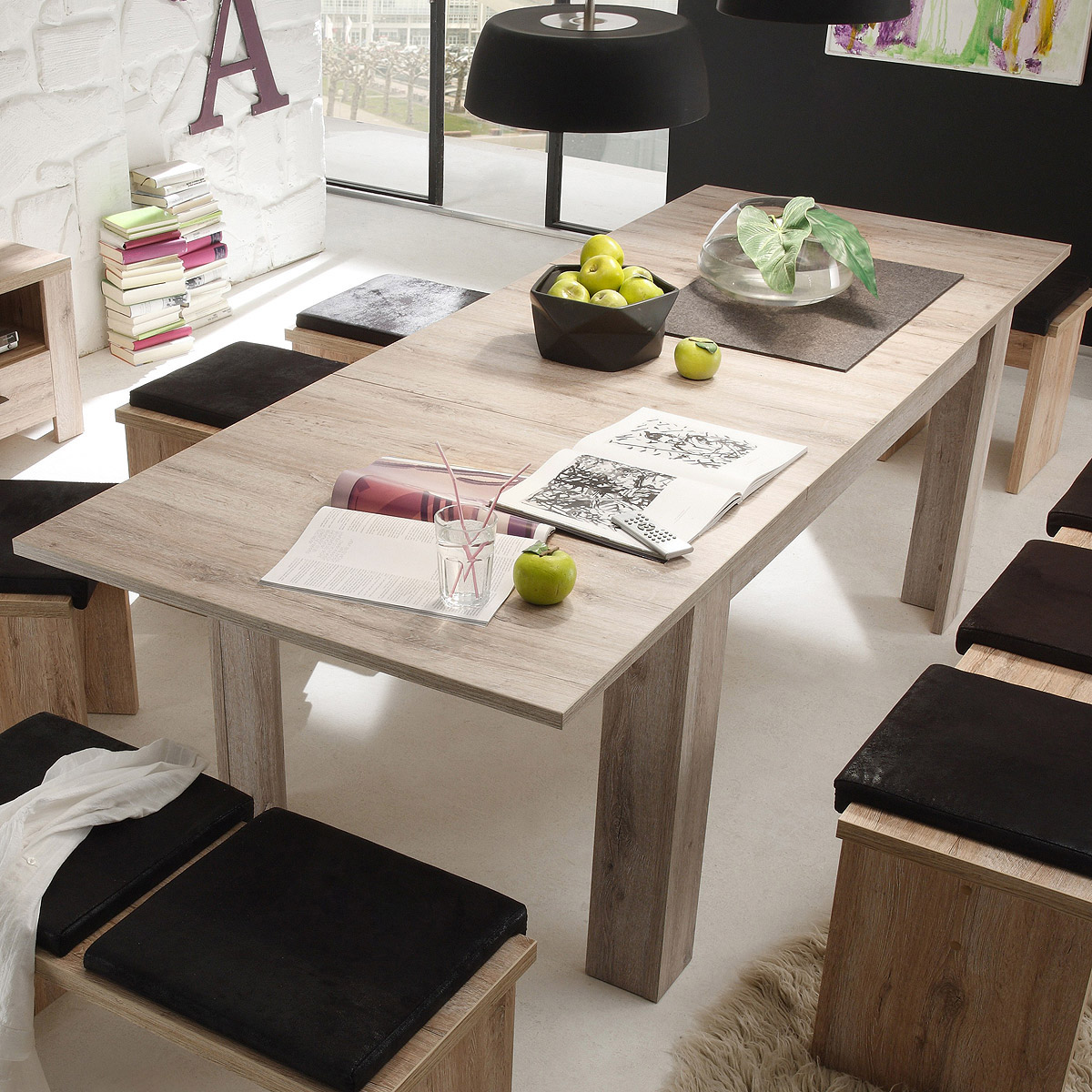 esstisch mambo tisch esszimmertisch eiche s gerau ausziehbar 140 220 cm ebay. Black Bedroom Furniture Sets. Home Design Ideas