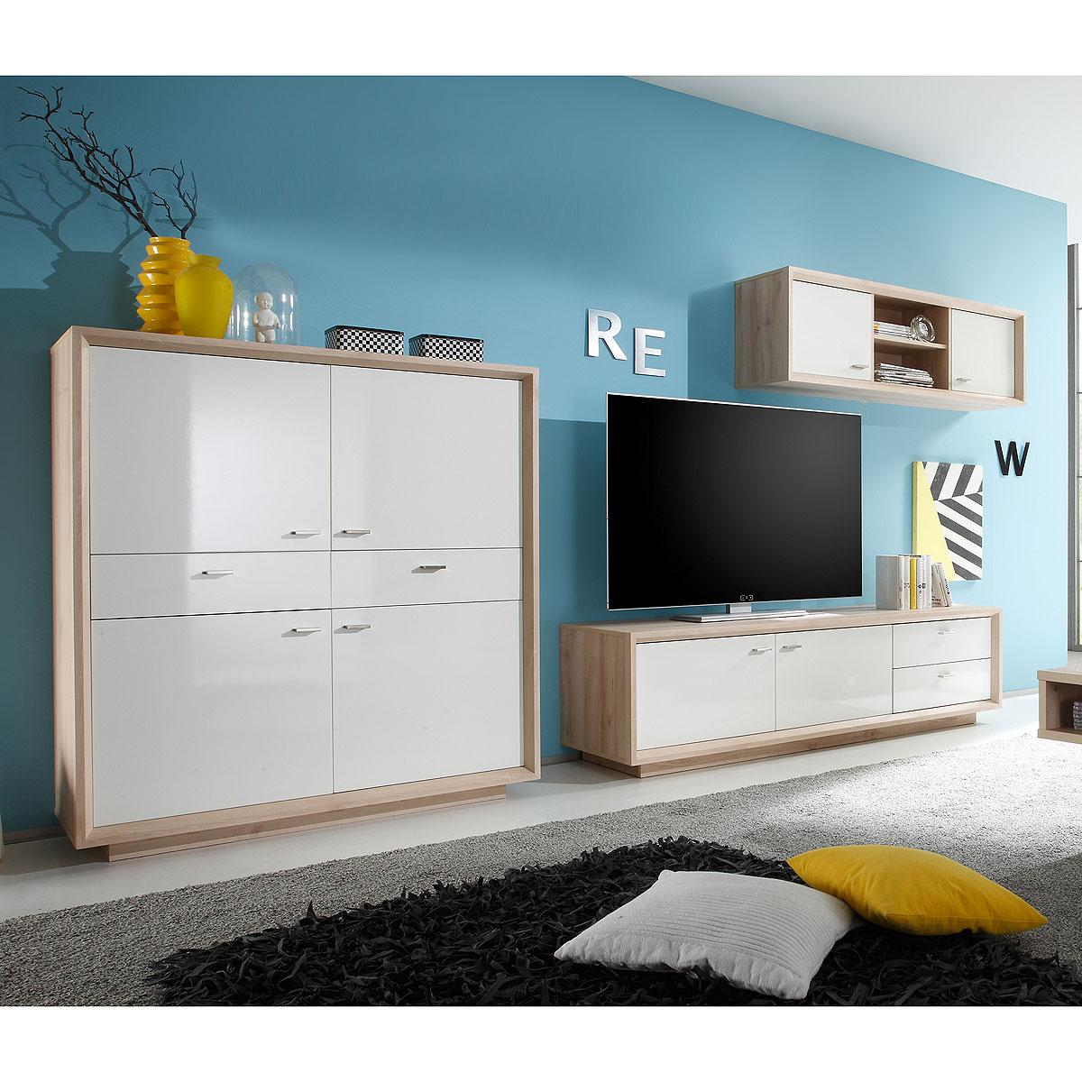 wohnwand 1 sven anbauwand wohnzimmer wohnkombi in. Black Bedroom Furniture Sets. Home Design Ideas