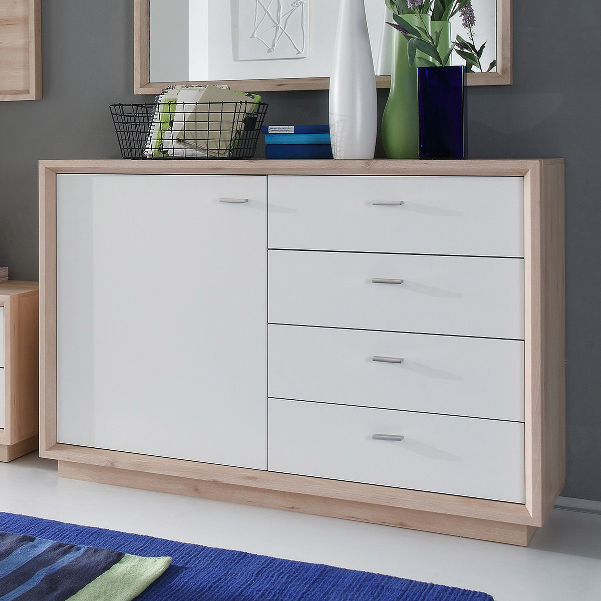 sideboard sven kommode garderobe in edelbuche und wei lack b 122 cm ebay. Black Bedroom Furniture Sets. Home Design Ideas