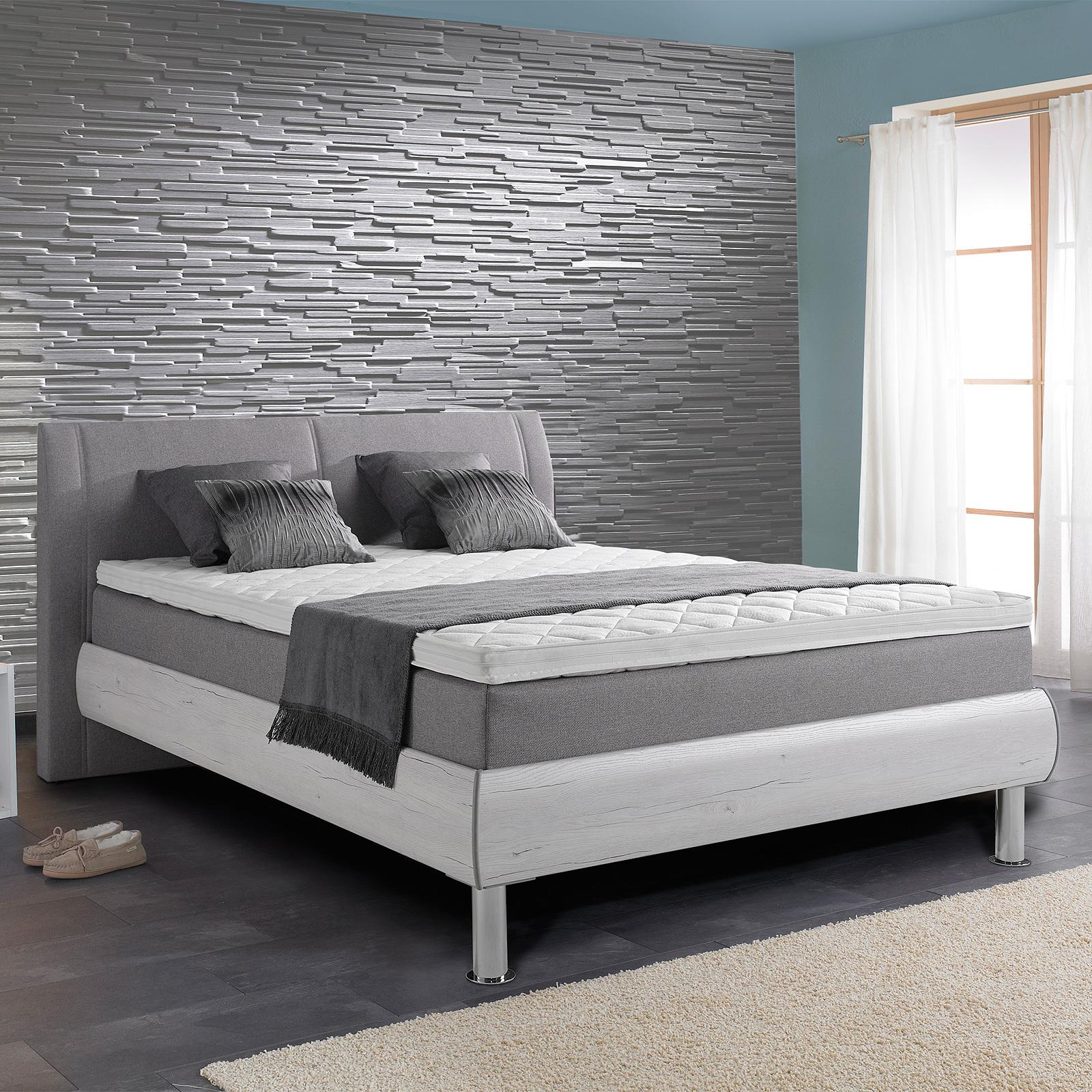 boxspringbett henning grau und san remo eiche wei inkl topper 140x200 cm ebay. Black Bedroom Furniture Sets. Home Design Ideas