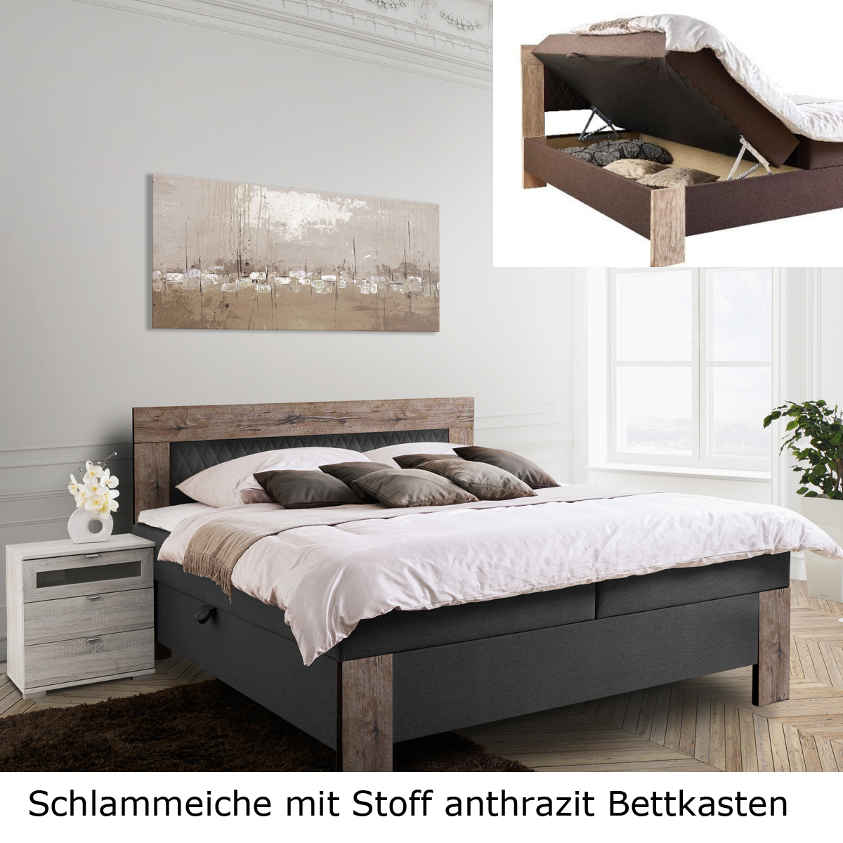 boxspringbett kiel bett hotelbett farbauswahl 2 stofffarben 3 holzfarben 180 cm ebay. Black Bedroom Furniture Sets. Home Design Ideas
