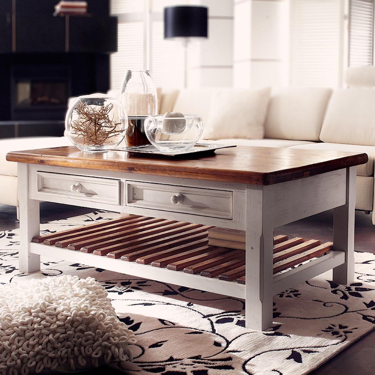 Couchtisch Bodde Tisch Kiefer Massiv Weiß Honig Landhaus