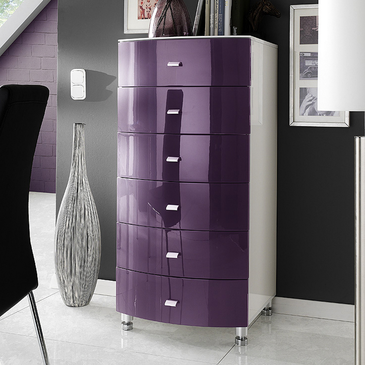 kommode cappo sideboard wei lila hochglanz neu ebay. Black Bedroom Furniture Sets. Home Design Ideas